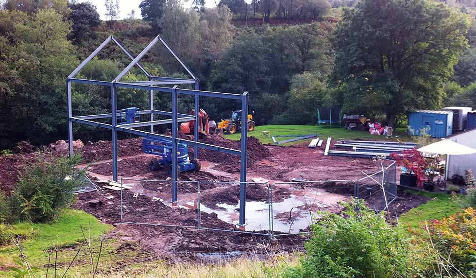 Erecting the steel frame