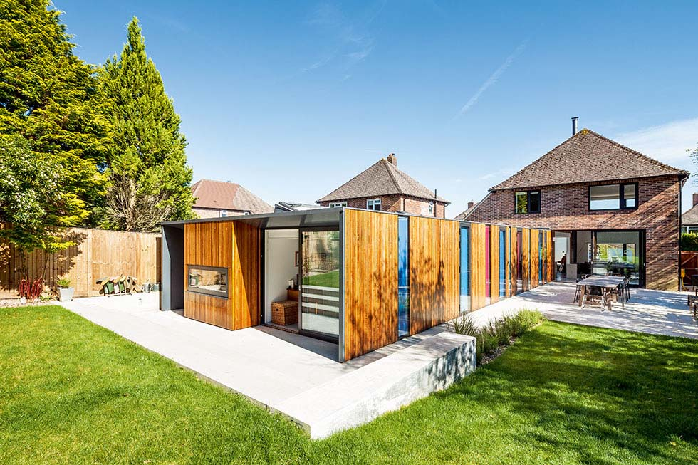 Attractive terrace timber clad houses