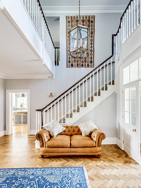 Grand stairway in self build Georgian style home