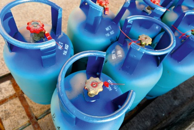 blue tanks of LPG