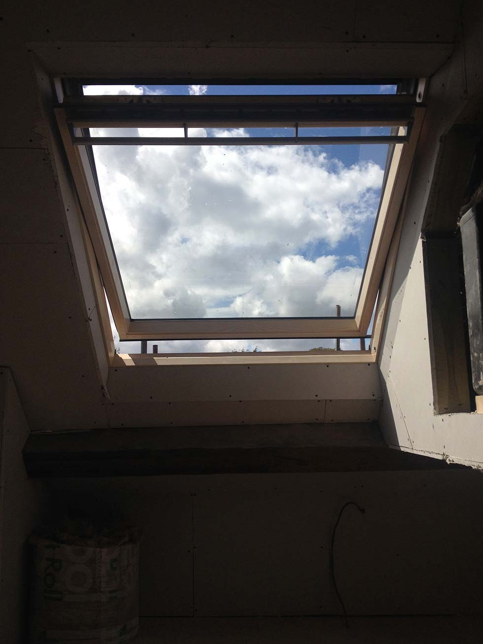 Large velum rooflight in loft conversion