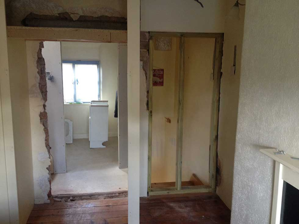 old doorway and new doorway in loft conversion