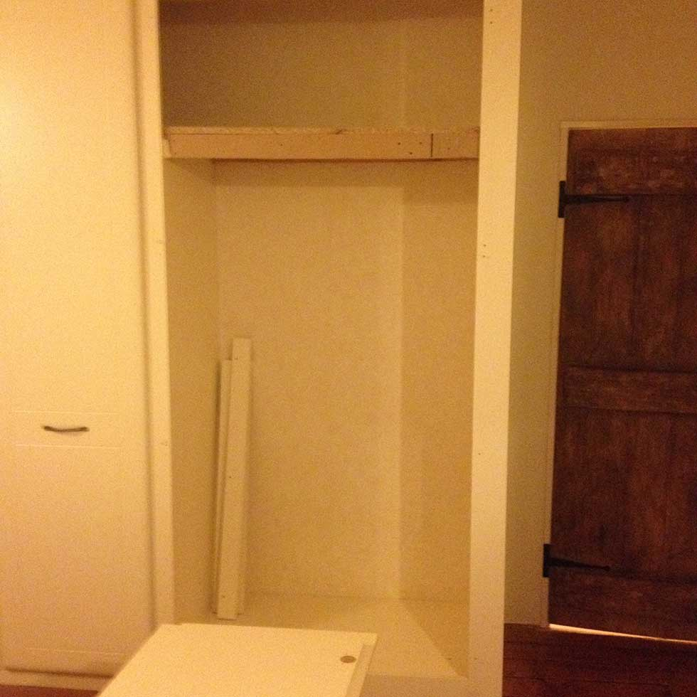 wardrobe open in Victorian bedroom