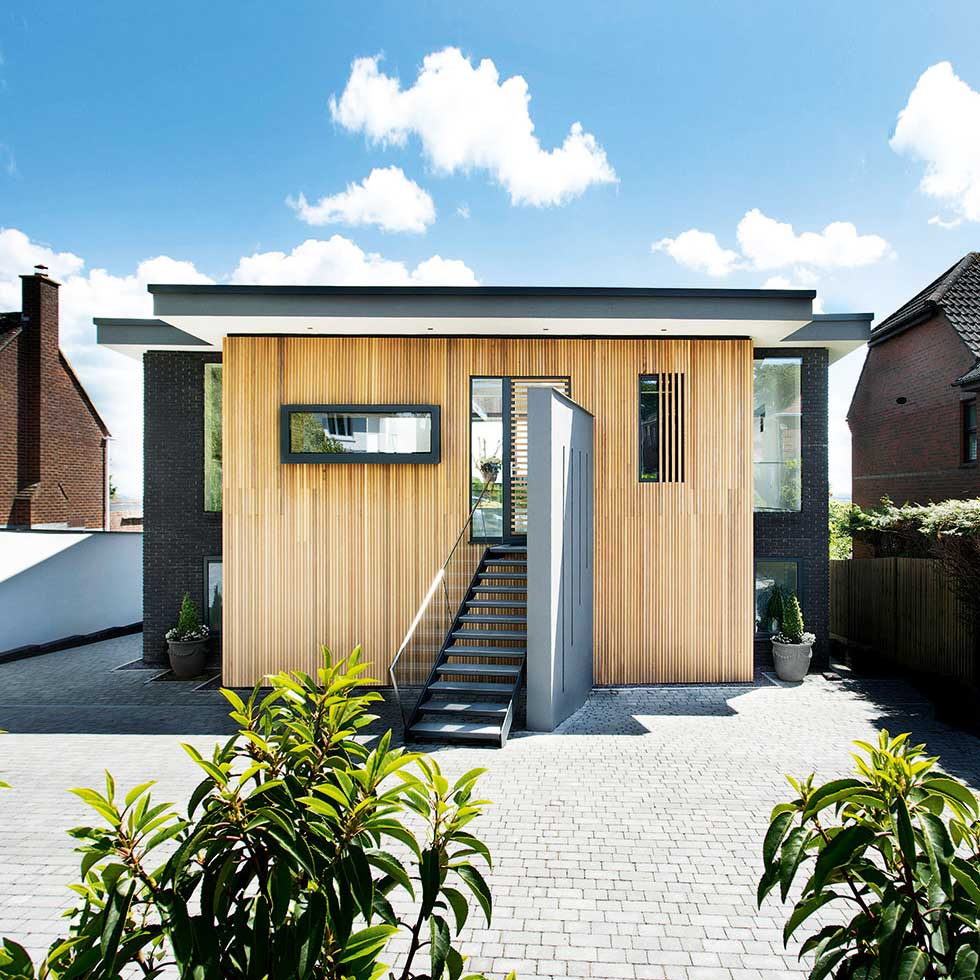 Entrance to a timber clad eco home