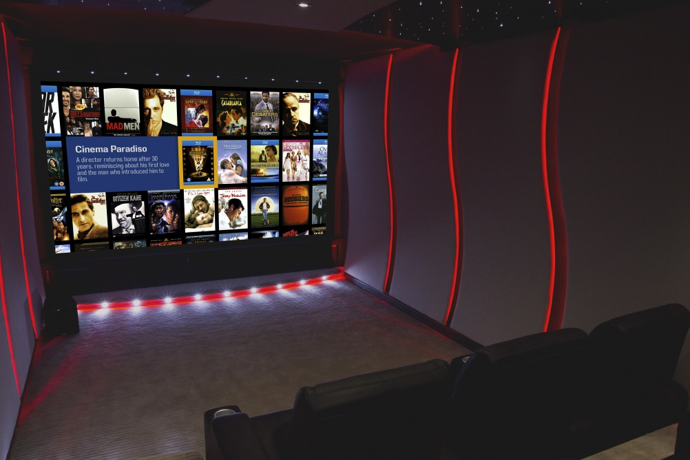 home cinema with feature lighting
