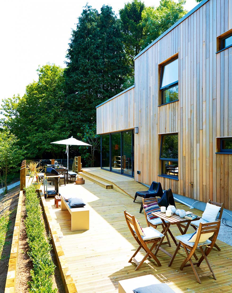 Timber decking at the back of the house
