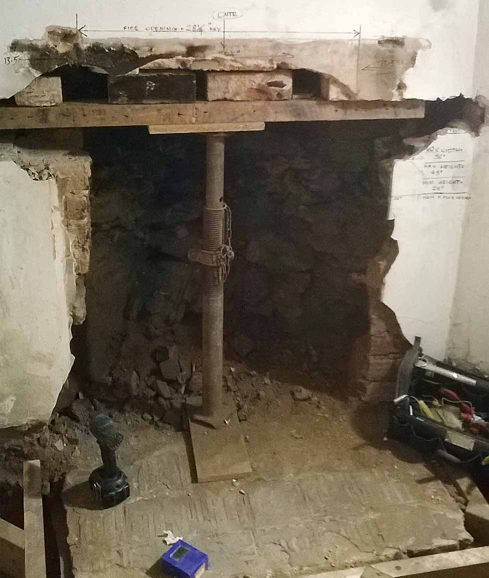 Supporting the opening where a fireplace used to be