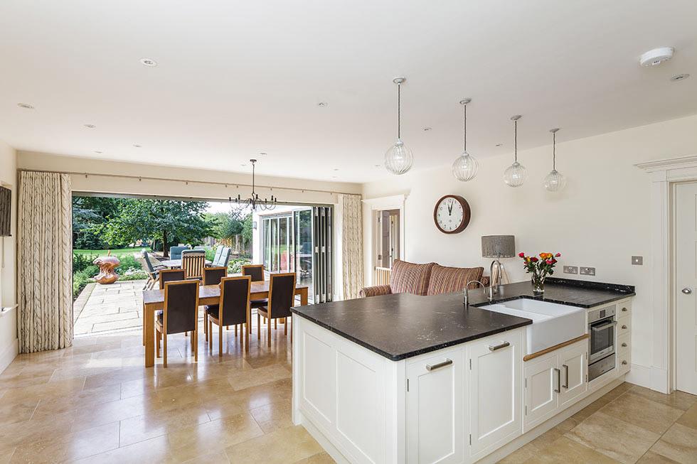 kitchen diner with bi-fold doors to garden