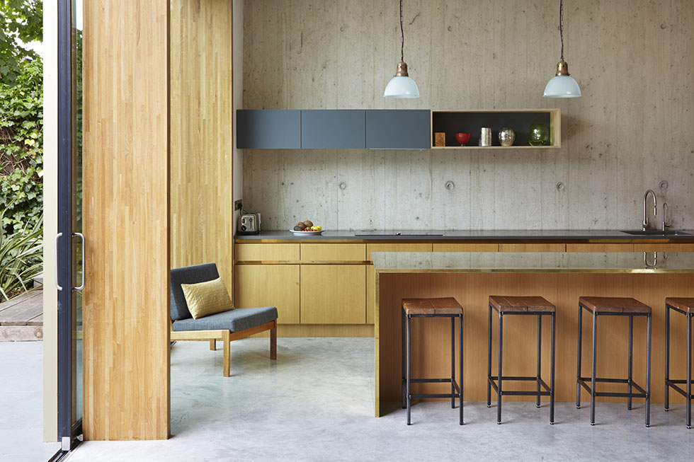 industrial wood and concrete floored kitchen