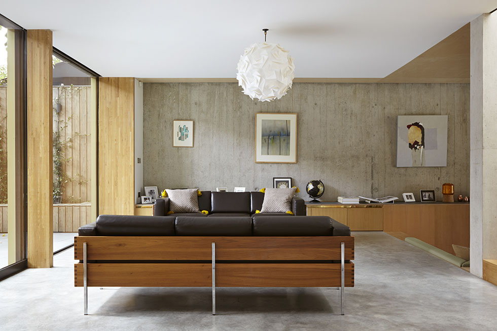 open plan living room with modernist furniture