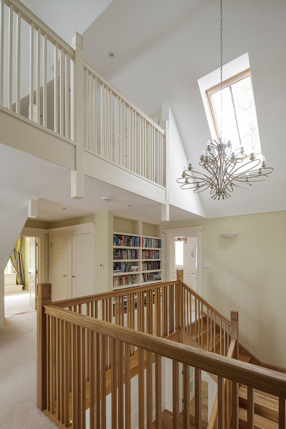galleried landing and mezzanine in arts and crafts home