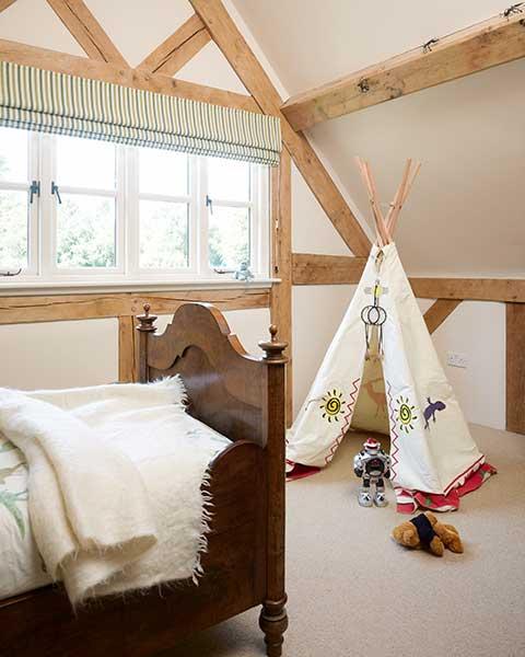 teepee in a children's bedroom