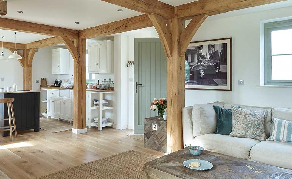 oak frame open plan kitchen