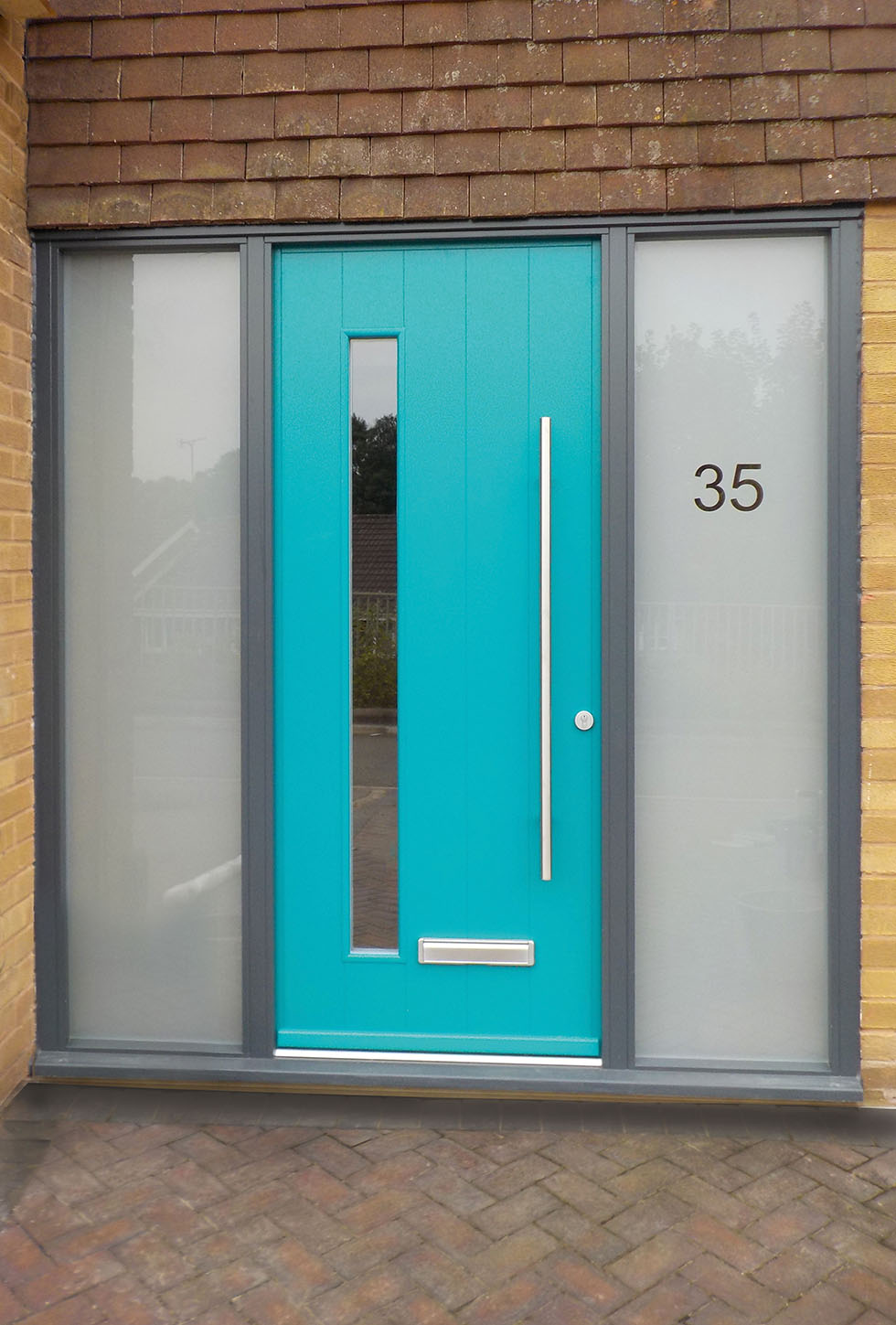 Kloeber Timber FunkyFront Door panel Bonn pained RAL 5021 Water Blue, Frame 9 painted RAL 7016 Anthracite Grey Kloeber 43340