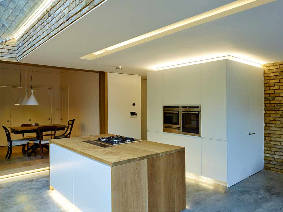 Feature lighting recessed kitchen