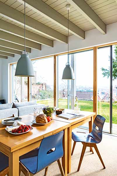 exposed beams dining room