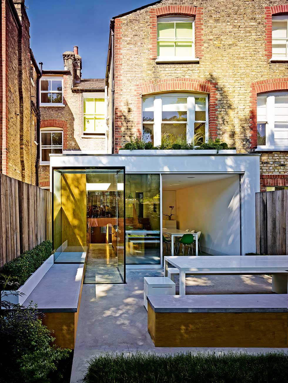 Edwardian extension of glass and white render