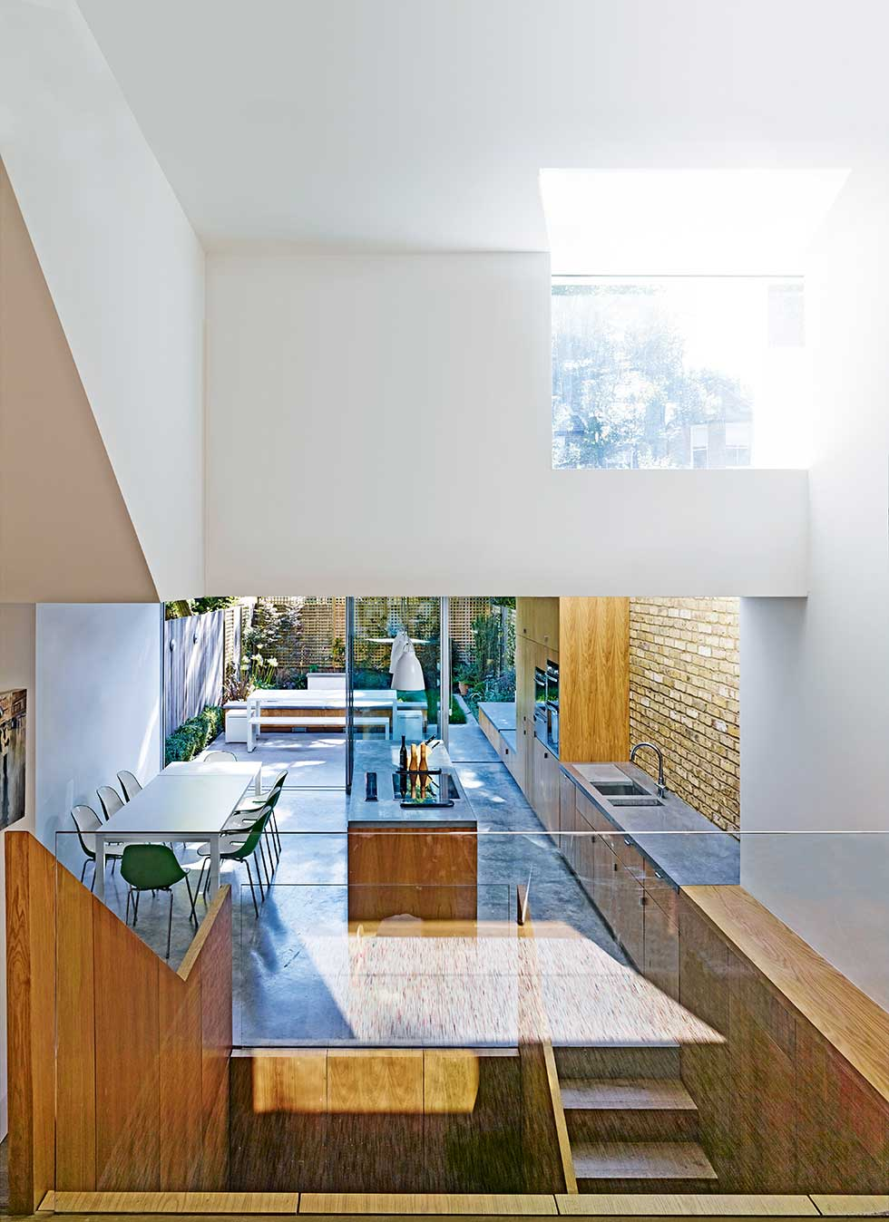light well and stairs in a basement and extension