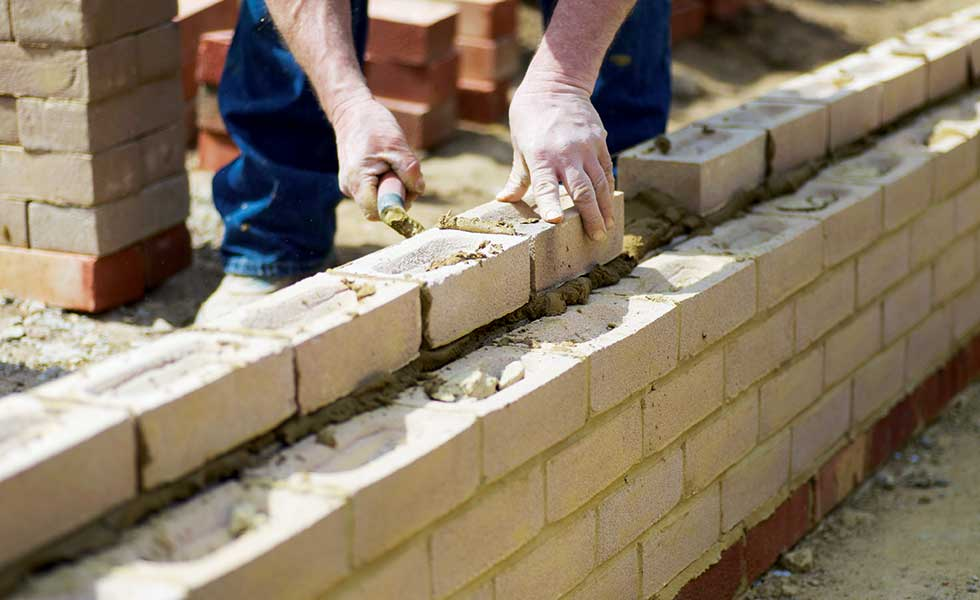 diy bricklaying close up