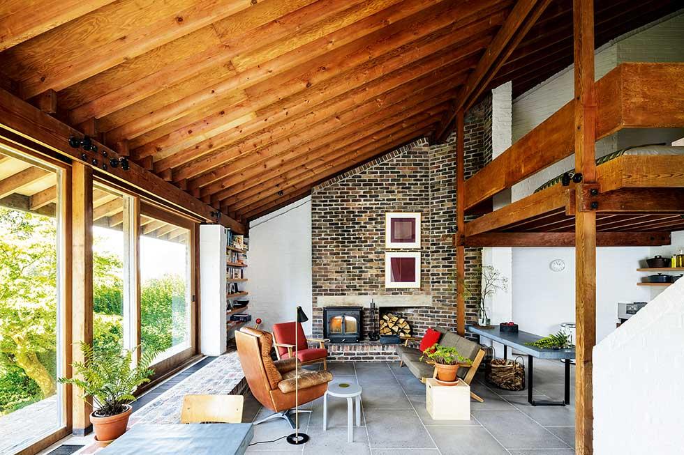 mezzanine living room douglas fir timber