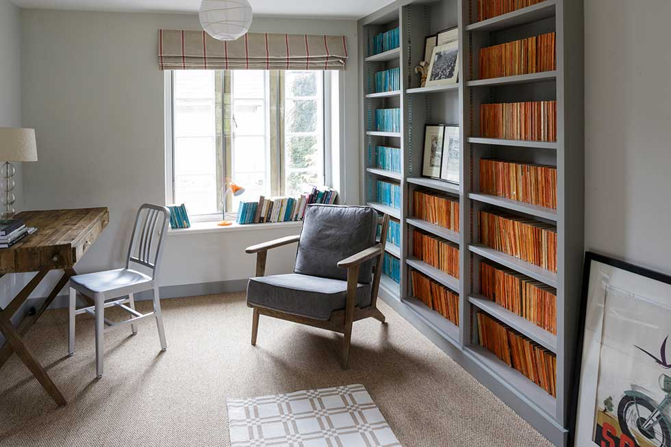 contemporary study and library in listed cottage renovation
