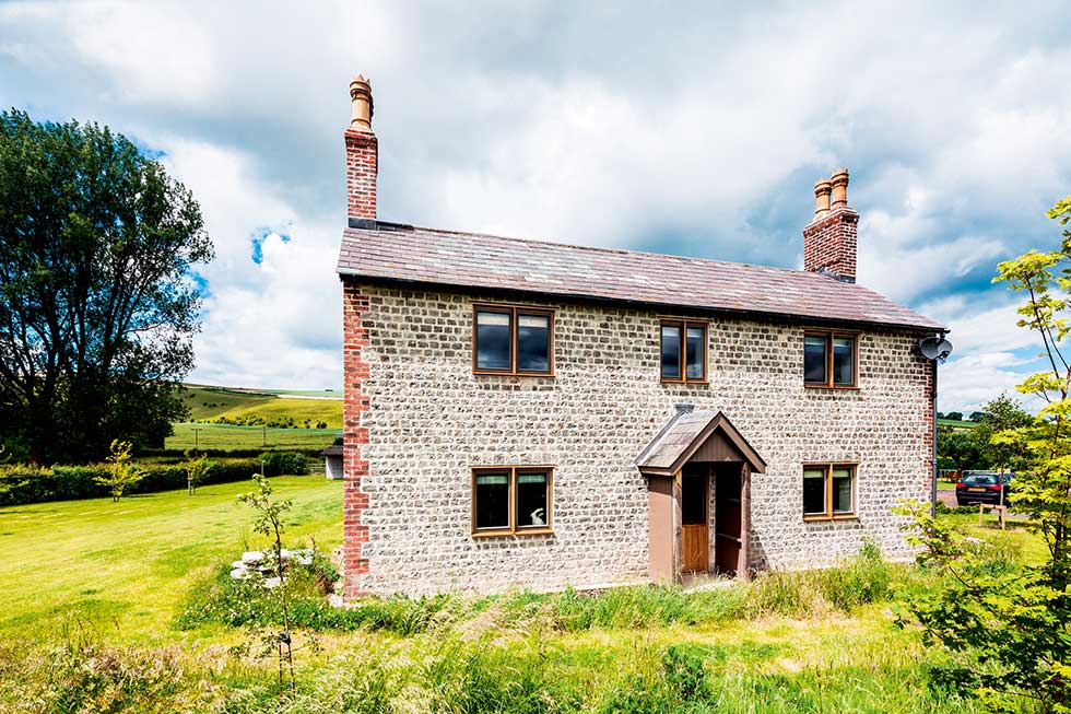 Old cottage extension front facade stonework traditional