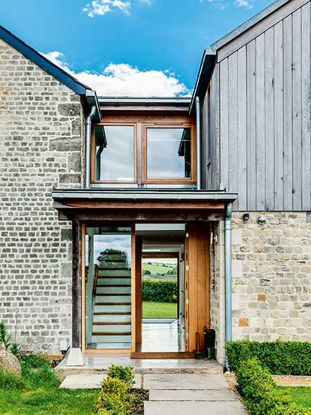 Old cottage extension glazed link staircase exterior