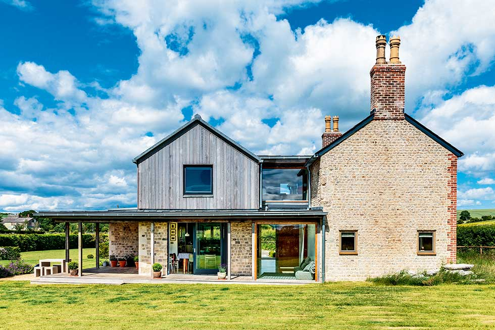 Old cottage extension exterior timber cladding stone