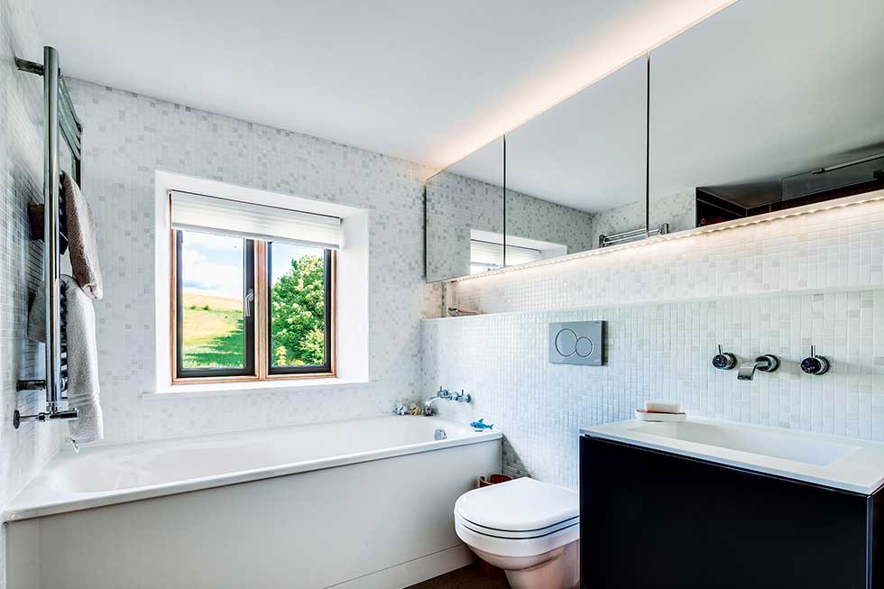 Old cottage extension monochrome bathroom black sink