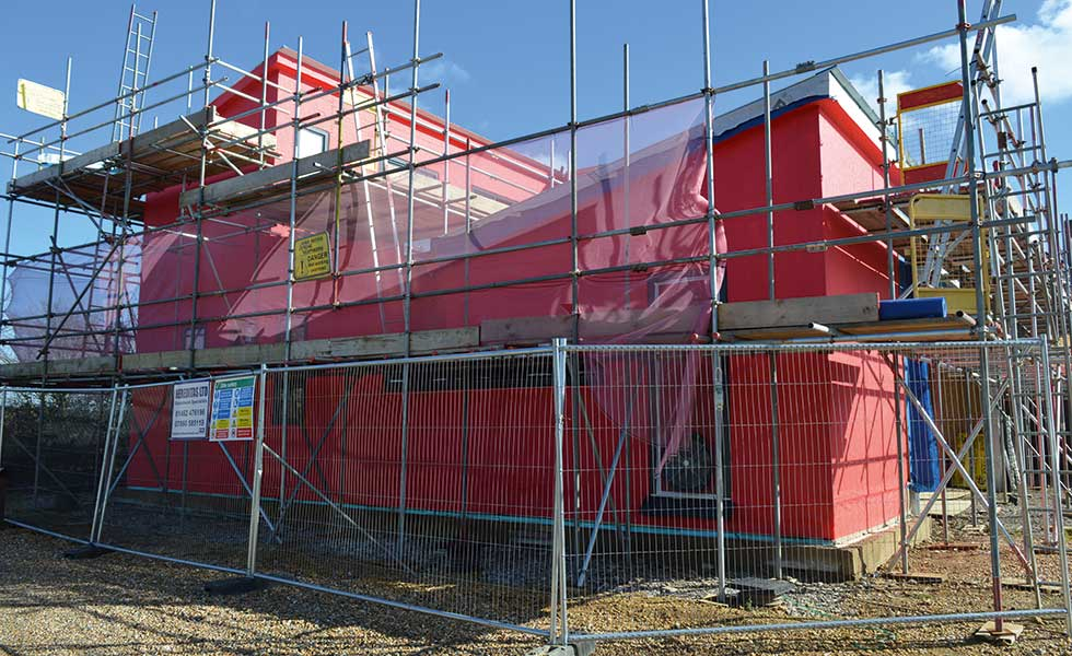 Potton passivhaus wrapped for airtightness testing