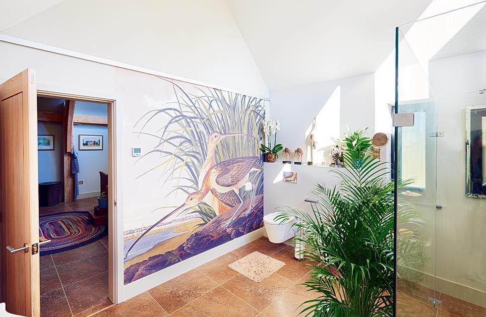 Oakwrights timber frame home bathroom wall mural