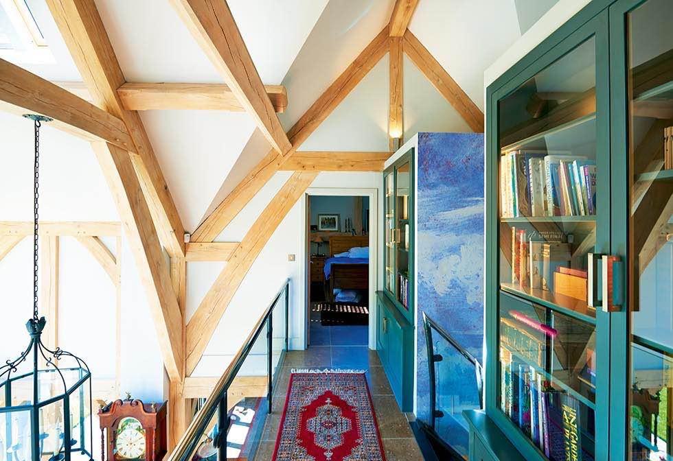 Oakwrights timber frame home galleried landing