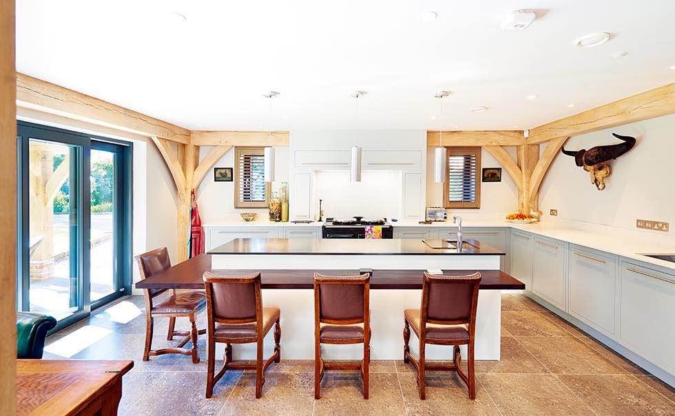 Oakwrights timber frame home modern kitchen diner