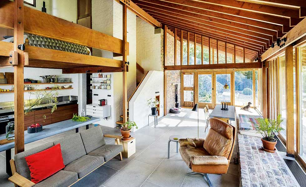 Renovated 1960s home with open plan living and concrete flooring