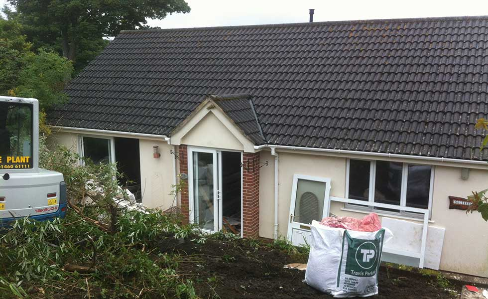 before image of a Dorset chalet bungalow in a Conservation Area