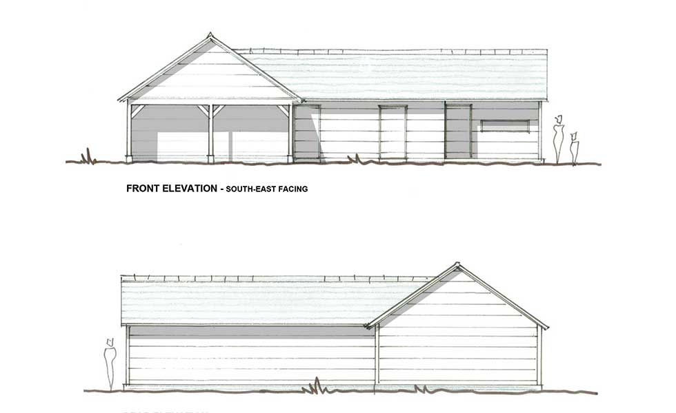 hand drawn plans of the outbuilding and garage
