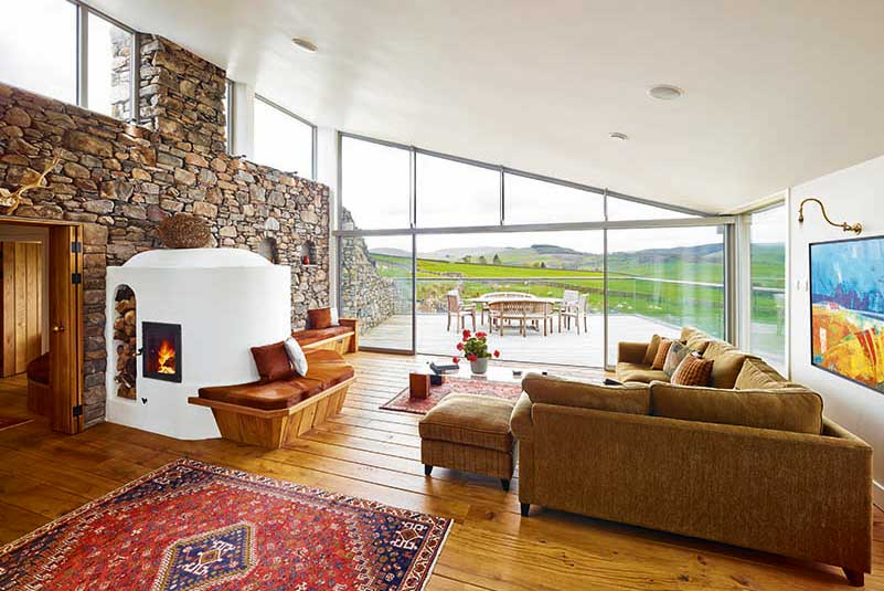 Interior of eco house in Dumfries