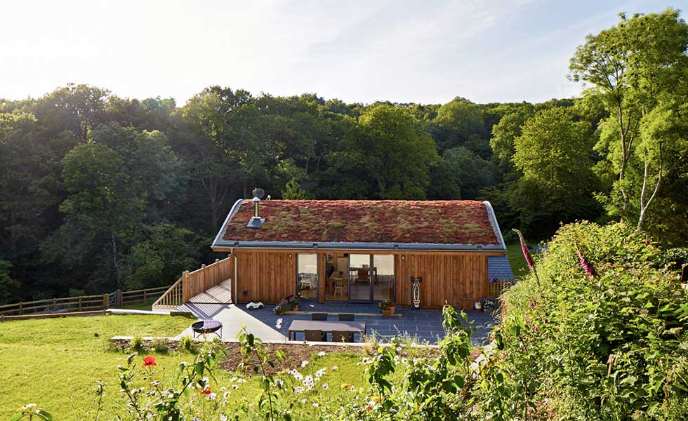 wooden panelled home with planted roof and open green spaces