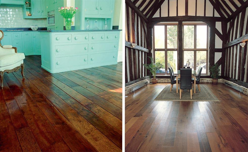 These reclaimed antique oak boards from LASSCO; New Burnt Oak floorboards by Victorian Woodworks