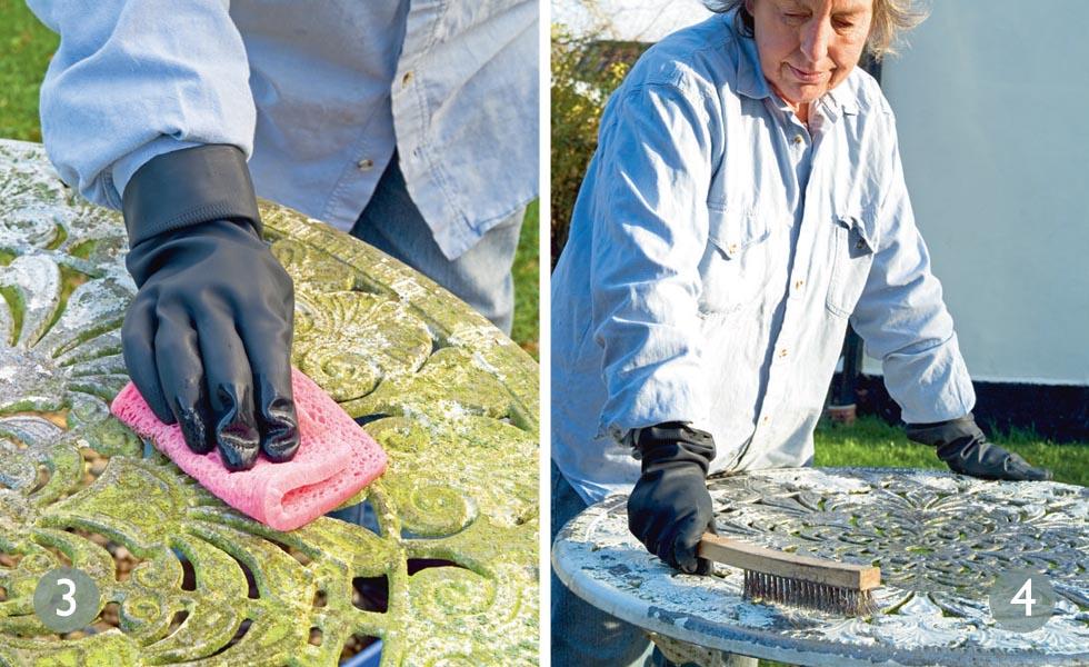 Kill algae; Remove paint flakes metal garden furniture