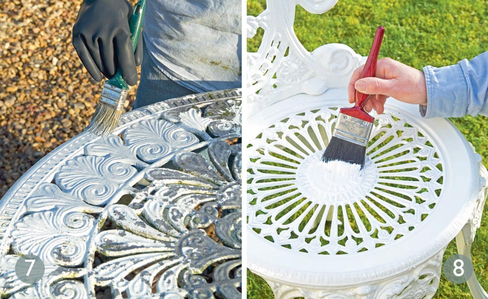 Prepare the surface; Apply paint metal garden furniture