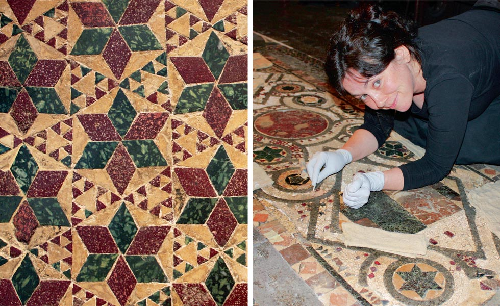 A pattern of purple and green porphyry and yellow limestone; Head conservator, Vanessa Simeoni repairs a tomb lid