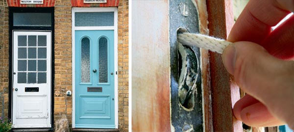 Period doors with flaking paint; Threading new sash cord through the pulley of a sash window