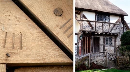 Original carpenter' marks; A timber framed house