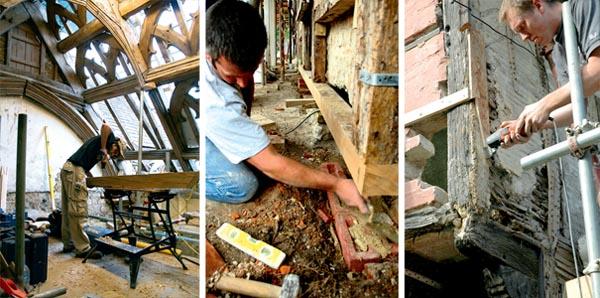 A craftsman repairing timber; Soleplate repairs; Traditional wattle and daub