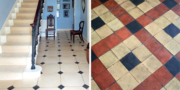 Classic flooring in a hallway; A tiled floor in need of a clean