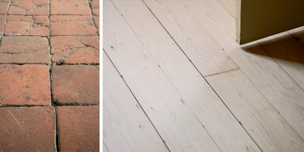 Baked clay tiles date back to medieval times; A sanded timber floor