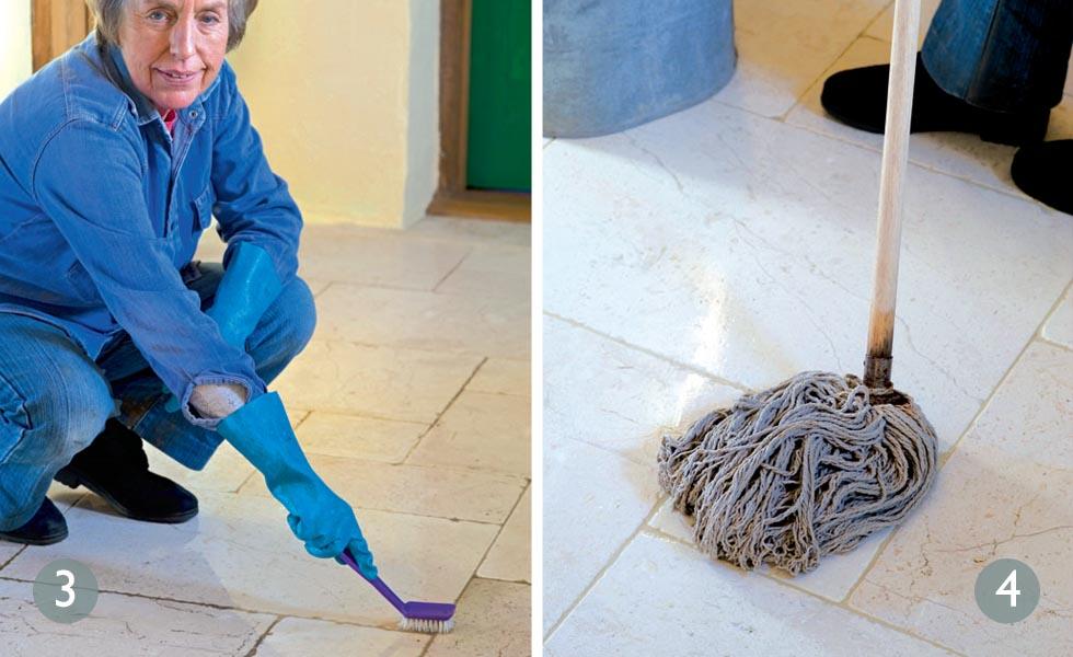 Restoring travertine floor tiles steps 3 and 4
