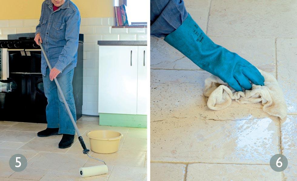 Restoring travertine floor tiles steps 5 and 6