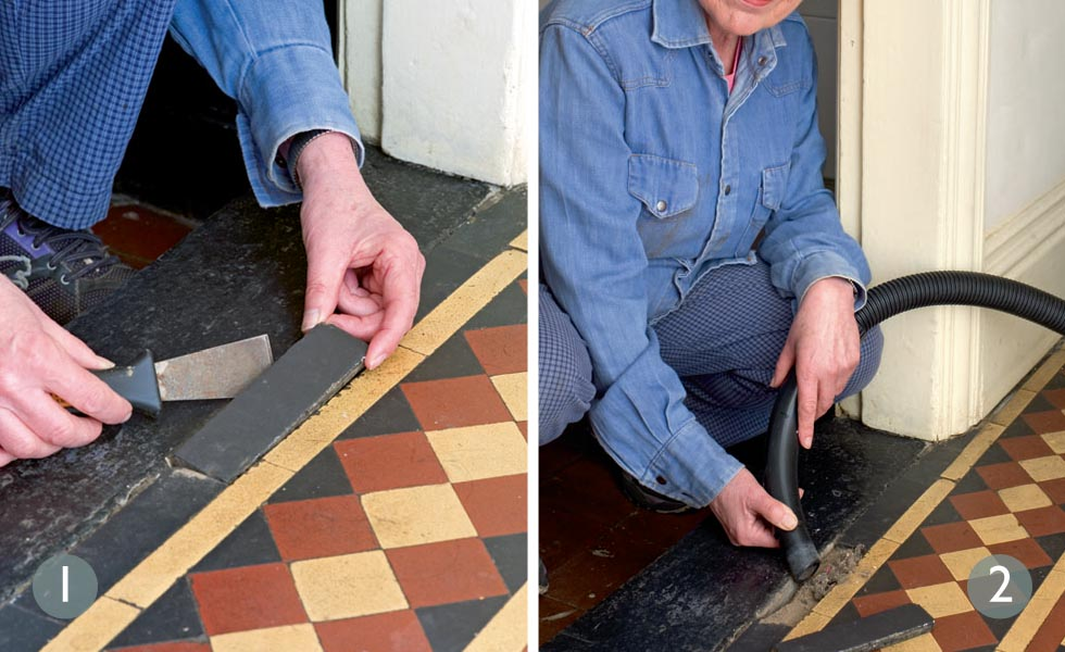 How to repair original tiled floors steps 1 and 2